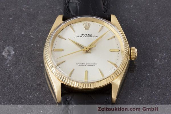 Used luxury watch Rolex Oyster Perpetual 18 ct gold automatic Kal. 1560 Ref. 1002  | 162179 14