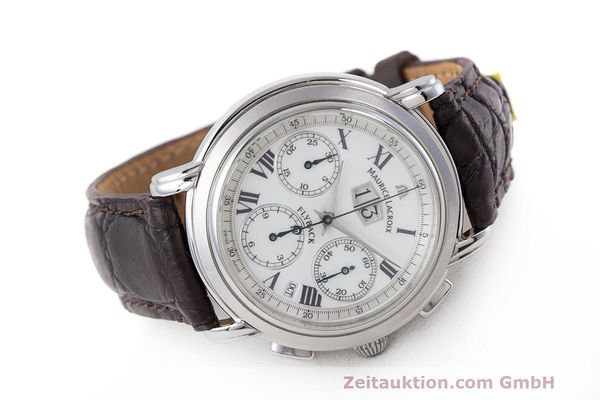 Used luxury watch Maurice Lacroix Masterpiece Flyback chronograph steel automatic Kal. 15 ETA 2892-2 Ref. 15827  | 162205 03