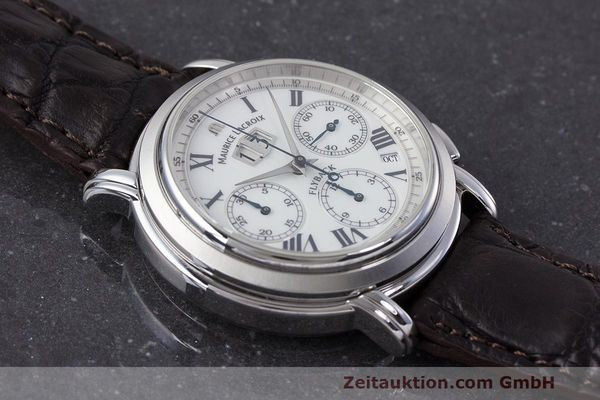 Used luxury watch Maurice Lacroix Masterpiece Flyback chronograph steel automatic Kal. 15 ETA 2892-2 Ref. 15827  | 162205 12