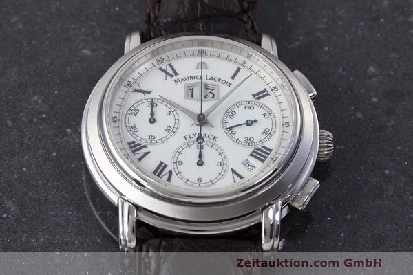 Used luxury watch Maurice Lacroix Masterpiece Flyback chronograph steel automatic Kal. 15 ETA 2892-2 Ref. 15827  | 162205 13