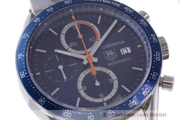 Used luxury watch Tag Heuer Carrera chronograph steel automatic Kal. 16 ETA 7750 Ref. CV2015-3  | 162250 02