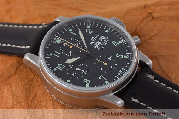 Used luxury watch Fortis Flieger Chronograph chronograph steel automatic Kal. ETA 7750 Ref. 597.10.141  | 162257 14