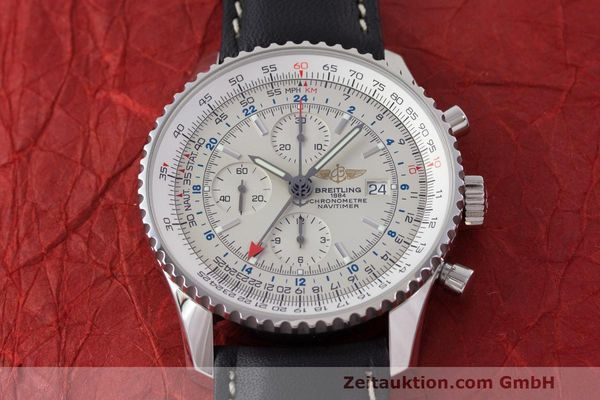 Used luxury watch Breitling Navitimer World chronograph steel automatic Kal. B24 ETA 7754 Ref. A24322  | 162391 14