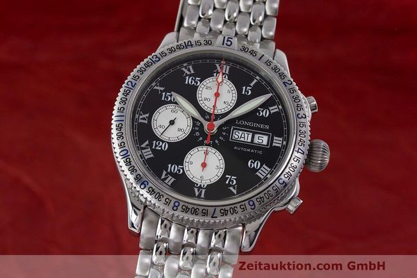 Used luxury watch Longines Lindbergh Stundenwinkel chronograph steel automatic Kal. L674.8 Ref. L2.618.4  | 162399 04