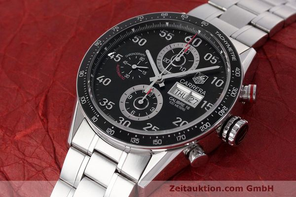 Used luxury watch Tag Heuer Carrera chronograph steel automatic Kal. 16 ETA 7750 Ref. CV2A10  | 162404 01