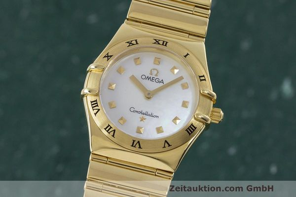 OMEGA LADY 18K GOLD CONSTELLATION MY CHOICE DAMENUHR PERLMUTT ZB VP: 13700,- Euro [162439]