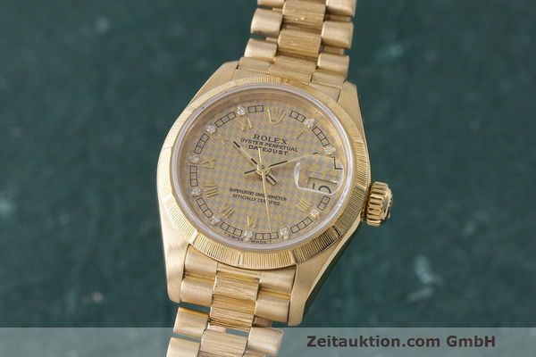 ROLEX LADY 18K GOLD DATEJUST AUTOMATIK DAMENUHR DIAMANTEN 69278 VP: 22650,- EURO [163177]