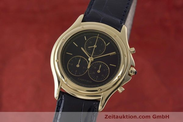 CARTIER LADY 18K (0,750) GELB GOLD COUGAR CHRONOGRAPH DAMENUHR RONDE VP: 24000,- [170332]