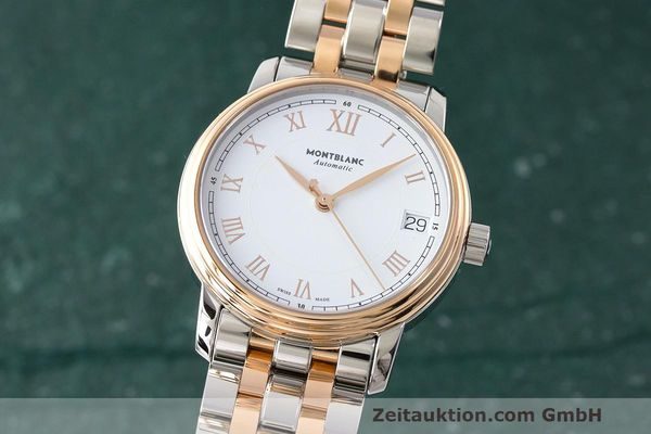 MONTBLANC LADY TRADITION DATE STAHL / GOLD AUTOMATIK DAMEN GLASBODEN NP: 3350,-Euro [171245]
