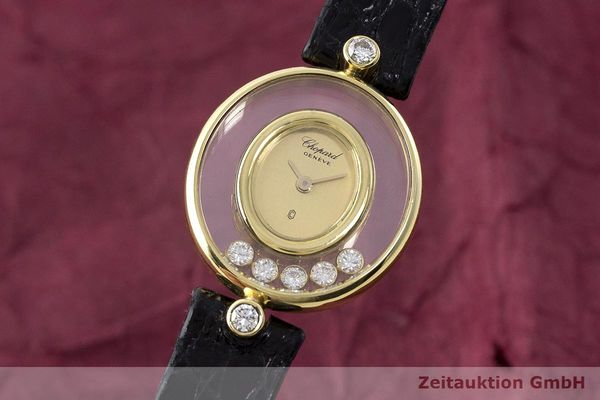 gebrauchte Luxusuhr Chopard Happy Diamonds 18k Gold Quarz Kal. Eta 201001 Ref. 64305  | 173575 04