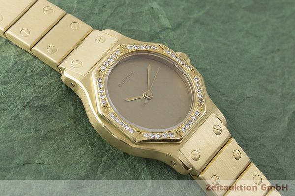 gebrauchte Luxusuhr Cartier Santos Ronde 18k Gold Automatik Kal. ETA 2671  | 1900073 _1