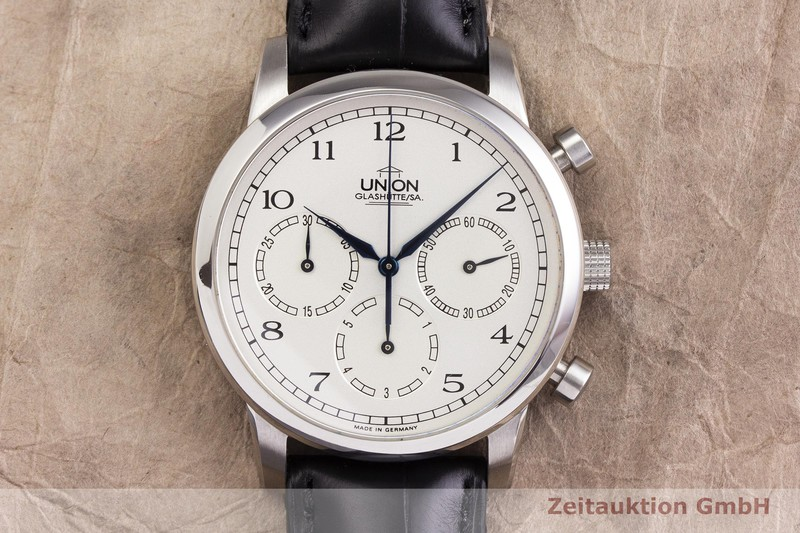 gebrauchte Luxusuhr Union Glashütte Julius Bergter Chronograph Stahl Handaufzug Kal. 30 Ref. 30.06.01.02.10 LIMITED EDITION | 2000090 _1
