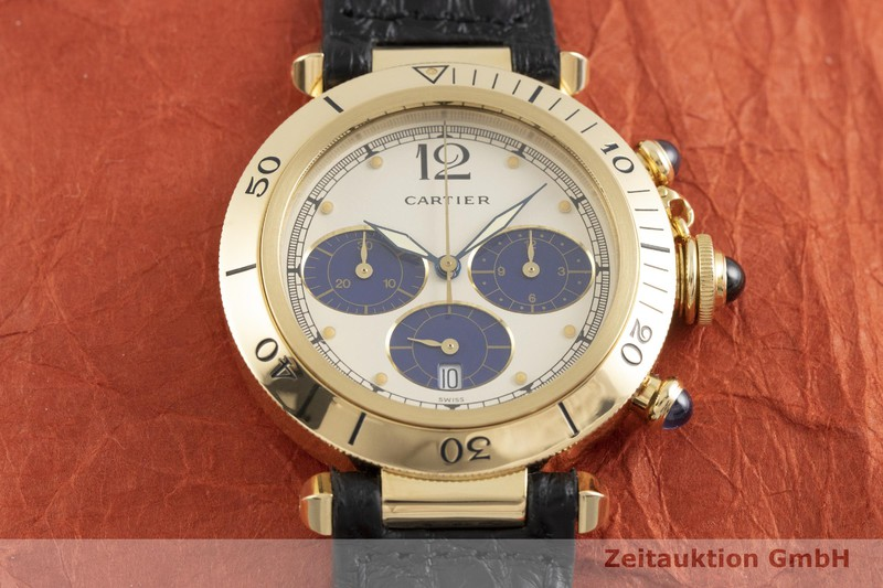 gebrauchte Luxusuhr Cartier Pasha Chronograph 18k Gold Quarz Ref. 30009  | 2000625 _1