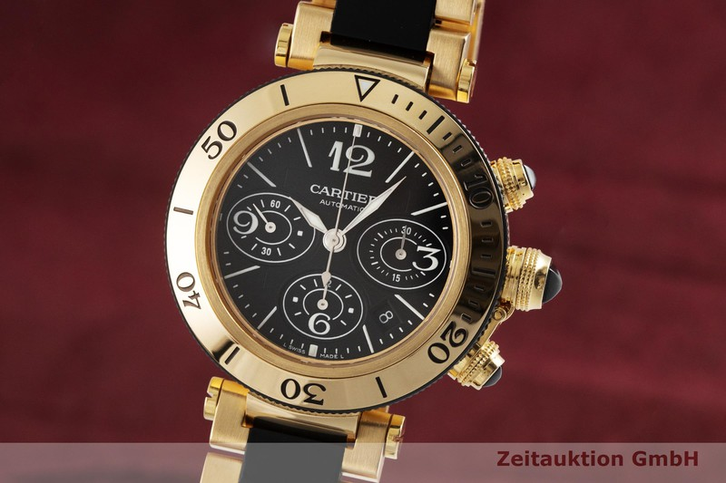 gebrauchte Luxusuhr Cartier Pasha Chronograph 18k Gold Automatik Kal. 8630, ETA 7753 Ref. 3027  | 2001689 _0