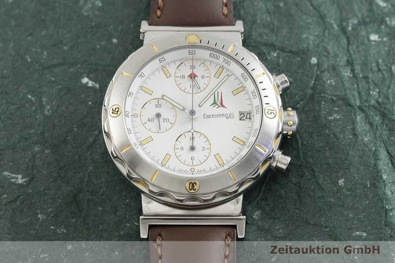 gebrauchte Luxusuhr Eberhard & Co Chronomaster Frecce Tricolori Chronograph Stahl vergoldet Automatik Kal. LWO 5100 Ref. 32120  | 2002341 _1