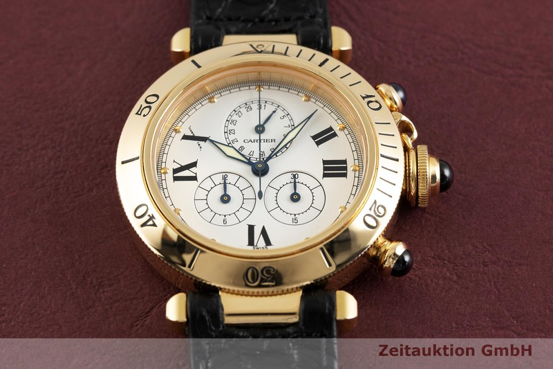 gebrauchte Luxusuhr Cartier Pasha Chronograph 18k Gold Quarz Kal. 212P Ref. 13531  | 2002703 _1