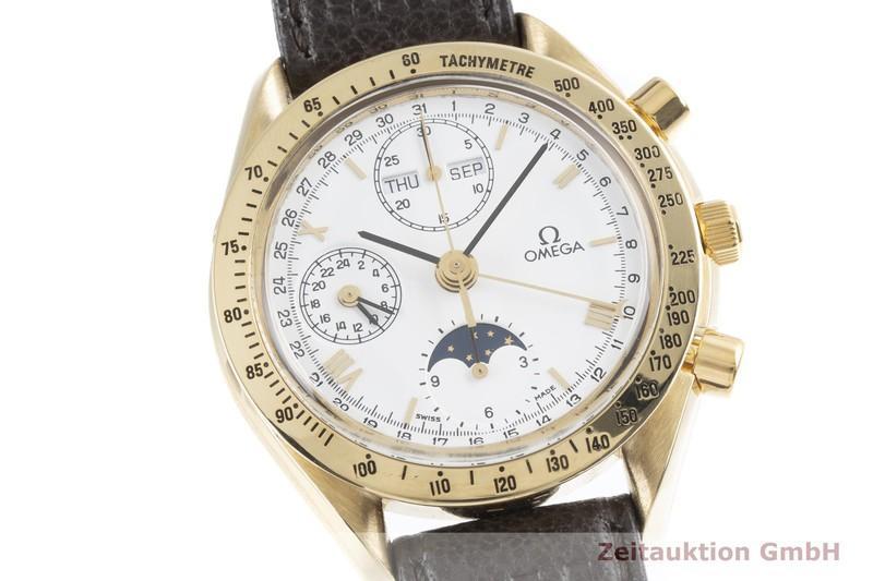 gebrauchte Luxusuhr Omega Speedmaster Chronograph 18k Gold Automatik Kal. 1150, Valjoux 7751 Ref. 175.0034    2003663 _0
