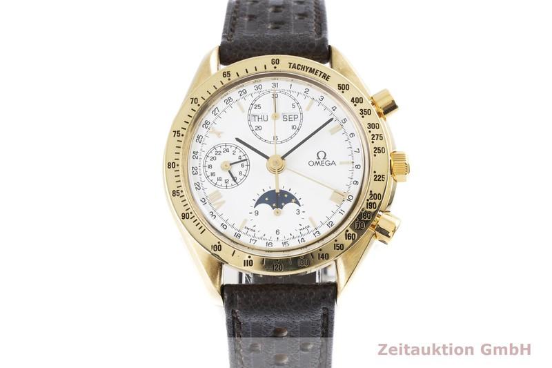 gebrauchte Luxusuhr Omega Speedmaster Chronograph 18k Gold Automatik Kal. 1150, Valjoux 7751 Ref. 175.0034    2003663 _1