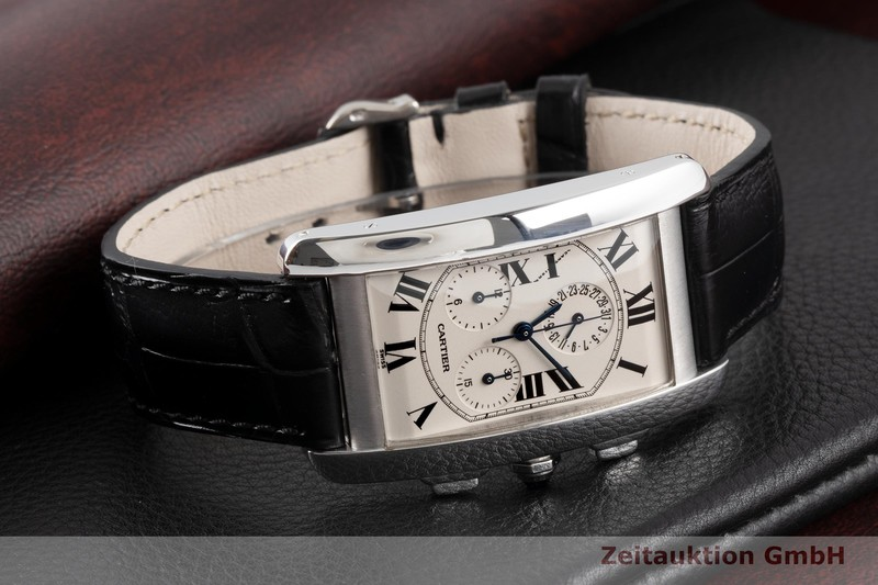 gebrauchte Luxusuhr Cartier Tank Américaine Chronograph 18k Weissgold Quarz Kal. 212P Ref. 2312  | 2004021 _1