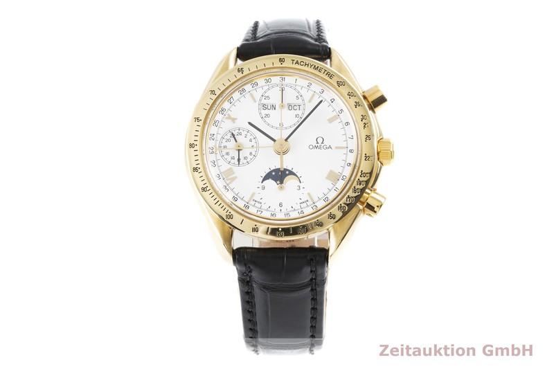 gebrauchte Luxusuhr Omega Speedmaster Chronograph 18k Gold Automatik Kal. Valjoux 7751 Ref. 175.0034  | 2004300 _0