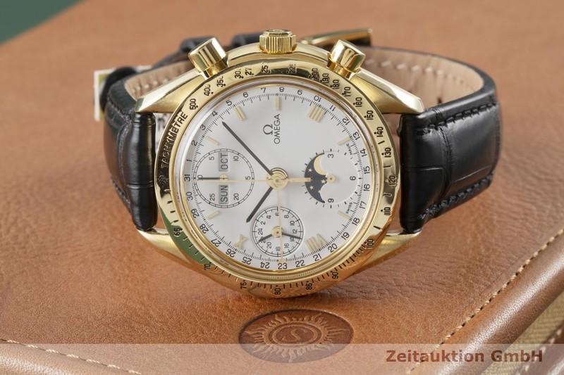 gebrauchte Luxusuhr Omega Speedmaster Chronograph 18k Gold Automatik Kal. Valjoux 7751 Ref. 175.0034  | 2004300 _1