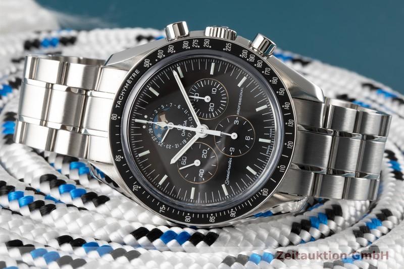 gebrauchte Luxusuhr Omega Speedmaster Moonwatch Chronograph Stahl Handaufzug Kal. 1866 Ref. 3876.50.31, 145.0057    2005143 _0