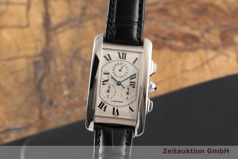 gebrauchte Luxusuhr Cartier Tank Américaine Chronograph 18k Weissgold Quarz Kal. 212P Ref. 2312  | 2007071 _0