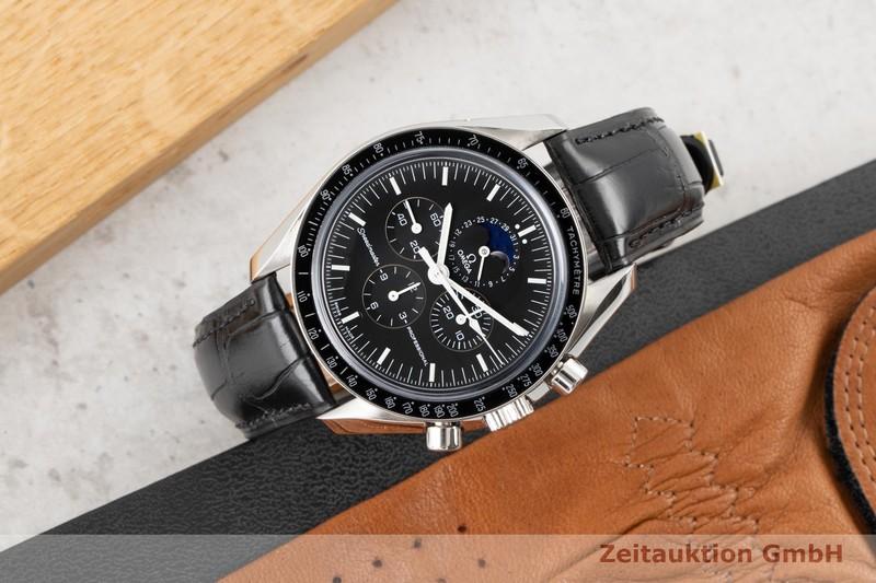 gebrauchte Luxusuhr Omega Speedmaster Moonwatch Chronograph Stahl Handaufzug Kal. 1866 Ref. 3876.50.31    2100395 _0