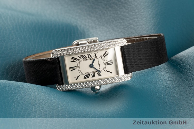 gebrauchte Luxusuhr Cartier Tank Américaine 18k Weissgold Quarz Kal. 157.06 Ref. 1713    2101978 _0