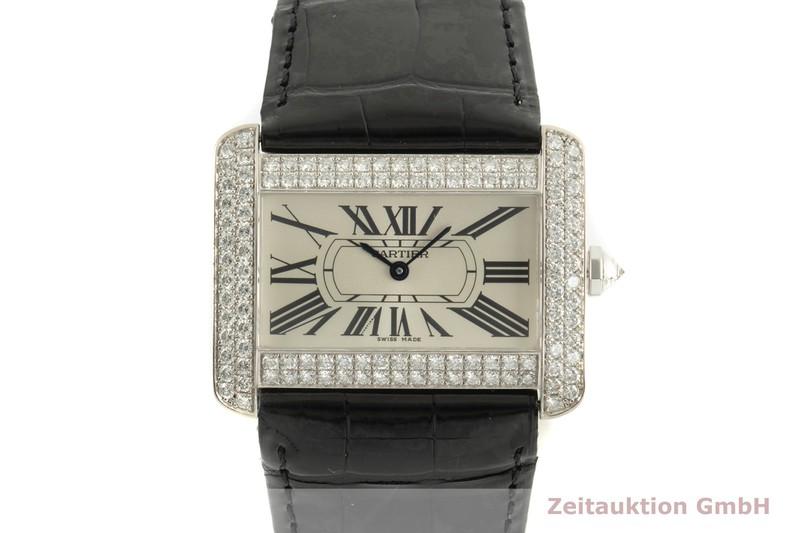 gebrauchte Luxusuhr Cartier Tank Divan 18k Weissgold Quarz Kal. 690 Ref. 2614, WA 301370   | 2102165 _0